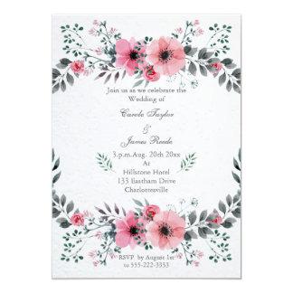 Rosa Blumenhochzeits-Kranz-Einladung Karte