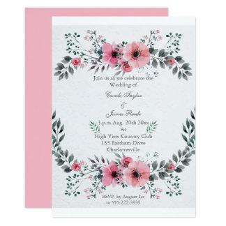 Rosa Blumenhochzeitseinladungs-Kranz Karte