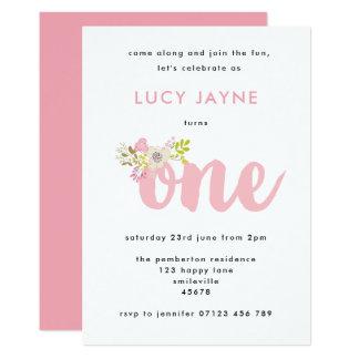 Rosa Blumenmädchen-erste Geburtstags-Party Karte