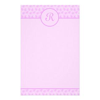 Rosa Blumenmonogramm-Initialen-Briefpapier Druckpapier