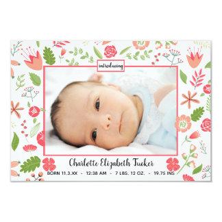 Rosa Blumensträuße - Mitteilung der Geburts-3x5 Karte