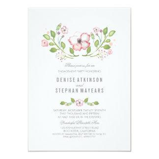 Rosa Blumenwatercolor-Verlobungs-Party 12,7 X 17,8 Cm Einladungskarte