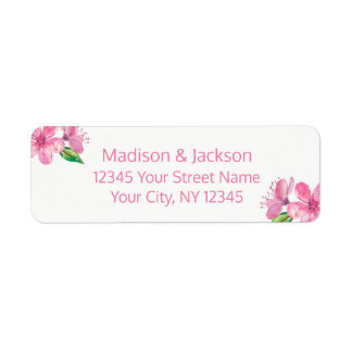 Rosa Blüten, die Paar-Rücksendeadresse Wedding