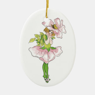 Rosa Briar-Rosen-Blumen-lustiges niedliches mit Keramik Ornament