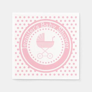 Rosa Buggy-Baby-Dusche Servietten