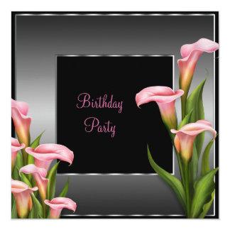 Rosa Calla-Lilien-Schwarz-Geburtstags-Party Quadratische 13,3 Cm Einladungskarte