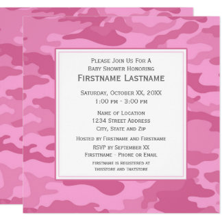 Rosa Camouflage-Baby-Dusche oder Party Karte