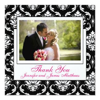Rosa Champagne-Hochzeits-Foto danken Ihnen Quadratische 13,3 Cm Einladungskarte