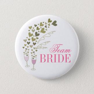 Rosa Champagne jubelt Team-Braut-Hochzeits-Knopf Runder Button 5,1 Cm