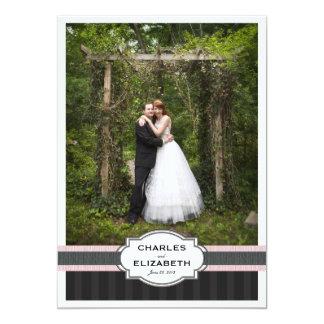 Rosa Chic-Hochzeit danken Ihnen Foto-Karte 12,7 X 17,8 Cm Einladungskarte