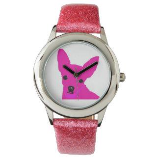 Rosa Chihuahua-Uhr für Kinder Armbanduhr