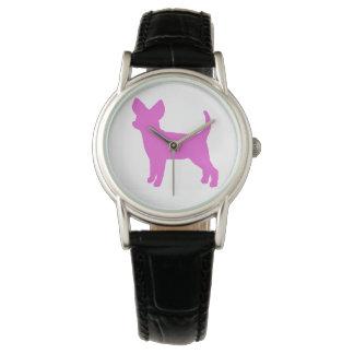 Rosa Chihuahua-Uhr Uhr