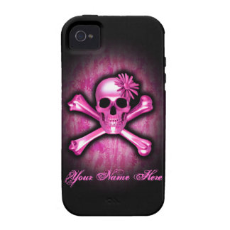 Rosa Chrom-Totenkopf mit gekreuzter Knochen iPhone Vibe iPhone 4 Hüllen
