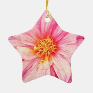 Rosa Dahlie-Blume Dble-Versah Stern-Verzierung mit Keramik Ornament