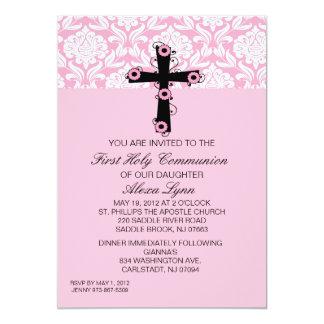 Rosa Damast-Kreuz mit Blumen-Kommunions-Einladung 12,7 X 17,8 Cm Einladungskarte