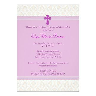 Rosa Damast-Taufe/Taufeinladung 12,7 X 17,8 Cm Einladungskarte