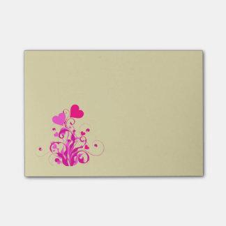 Rosa dekorative Herzen mit Wirbel und Locken Post-it Klebezettel