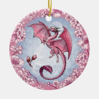 Rosa Drache der Frühlings-Natur-Fantasie-Kunst Rundes Keramik Ornament