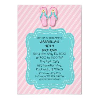 Rosa drehen Reinfall-Geburtstags-Party Einladung