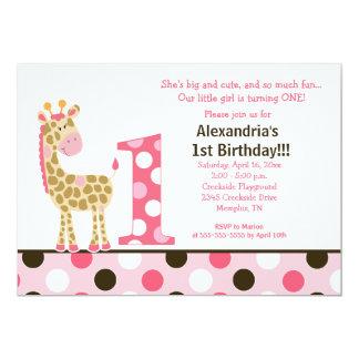 Rosa Dschungel-Giraffen-1. 12,7 X 17,8 Cm Einladungskarte