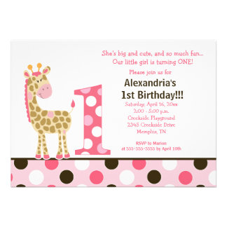Rosa Dschungel-Giraffen-1. Geburtstags-Einladungs-
