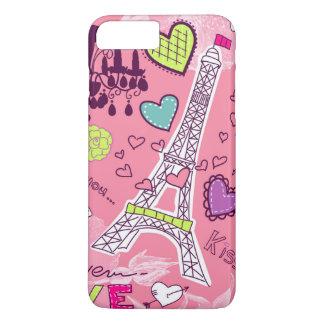 Rosa Eiffel-Turm-Liebe-Paris Frankreich iPhone 8 Plus/7 Plus Hülle
