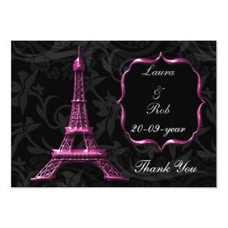 rosa Eiffelturm-Franzosen danken Ihnen Einladungen
