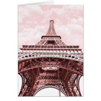 Rosa Eiffelturm-Gruß-Karte Karte