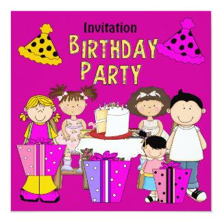 Rosa Einladungs-Party-Geburtstags-Mädchen-Junge Ankündigungskarten