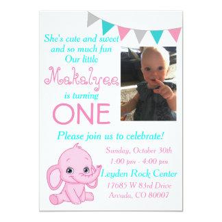 Rosa Elefant-erste Geburtstags-Party Einladung
