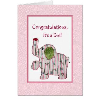 Rosa Elefant-Glückwünsche ist es eine Grußkarte