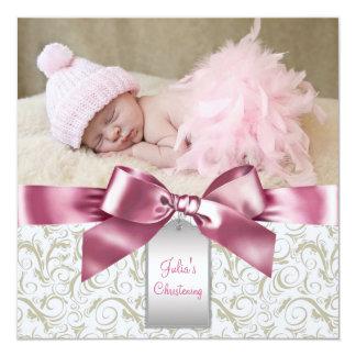 Rosa Elfenbein-Wirbels-Baby-Mädchen-Foto-Taufe Karte