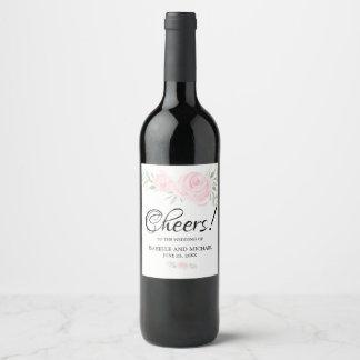 Rosa erröten Rosen-personalisierter Weinetikett