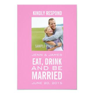 Rosa essen Getränk ist verheiratetes Foto-Hochzeit 8,9 X 12,7 Cm Einladungskarte