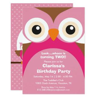 Rosa Eulen-Geburtstags-Party Einladung
