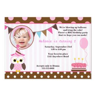 Rosa Eulen-Mädchen-Foto-Geburtstag 12,7 X 17,8 Cm Einladungskarte