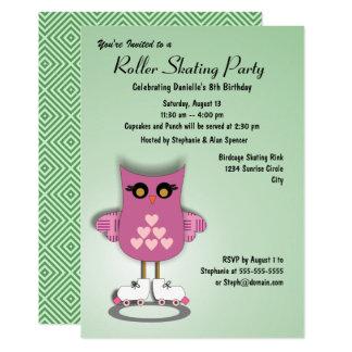 Rosa Eulen-Skaten-Party Einladung