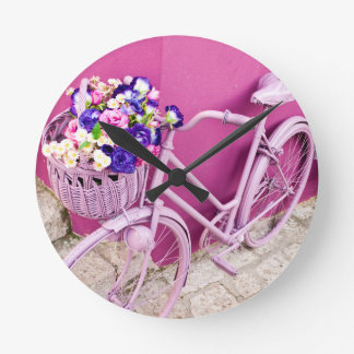 Rosa Fahrrad Runde Wanduhr