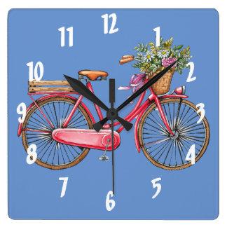 Rosa Fahrrad u. Korb-quadratische Wanduhr