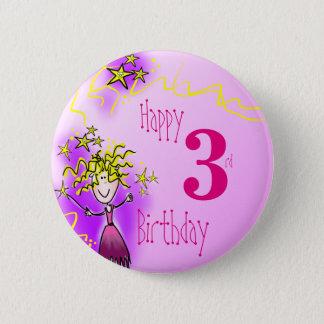 Rosa feenhaftes Abzeichen des glücklichen 3. Runder Button 5,7 Cm