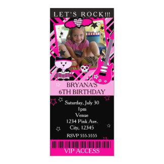 Rosa Felsen-Sternkitty-Katzen-Rosa-Karte VIP-Party 10,2 X 23,5 Cm Einladungskarte