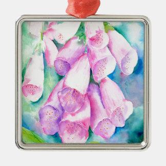 Rosa Fingerhüte des Aquarells Quadratisches Silberfarbenes Ornament