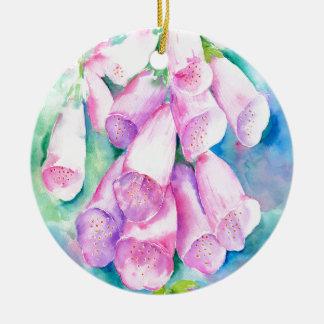 Rosa Fingerhüte des Aquarells Rundes Keramik Ornament
