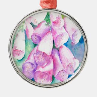 Rosa Fingerhüte des Aquarells Rundes Silberfarbenes Ornament