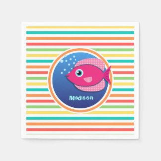 Rosa Fische; Helle Regenbogen-Streifen Papierserviette