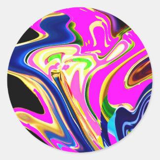 Rosa Flair-Wellen: Glück, Lächeln Heilensn Runder Sticker