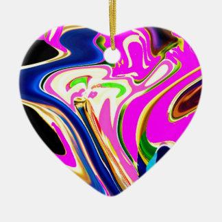 Rosa Flair-Wellen: Glück, Lächeln Heilensn Keramik Herz-Ornament