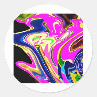 Rosa Flair-Wellen: Glück, Lächeln Heilensn Runder Aufkleber