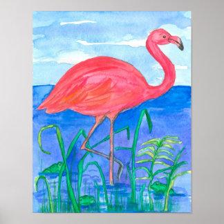 Rosa Flamingo-Aquarell-Malerei Poster
