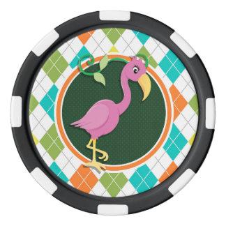 Rosa Flamingo auf buntem Rauten-Muster Poker Chip Set